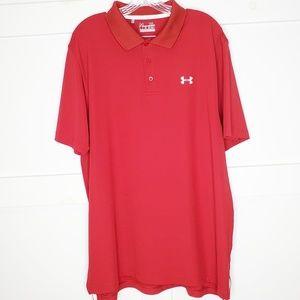 Mens Under Armour Red Heat Gear Golf Polo Shirt XL